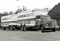 Scania LS 76 gesloten combinatie van Broersma in Stroobos Road Transport, Volvo Trucks, Cool Trucks, Good Old, Volkswagen, Transportation, Van, Vehicles, Nice
