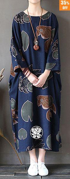 O-NEWE Vintage Women Goldfish Printed Maxi Dress. #women #dresses #outfit