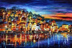 night harbor - oil painting by Leonid Afremov  This is a brand new painting I finished last week. I painted it outdoors in my jungle ranch in Mexico. It is oil on canvas with a palette-knife. Please comment with your opinion