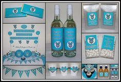 Personalised Baby Shower Decorations Supplies Packs Shop Online Australia Banners Bunting Wall Display Cupcake Toppers Chocolate Wrappers Juice Water Pop Top Labels Posters Lanterns Invites Cup Stickers Ideas Inspiration Cake Table Katie J Design and Events Boy Boys Romper Onesie