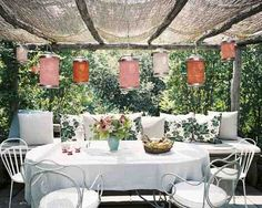 indoor garden lanterns pergola with outdoor dining area. Furniture, Awesome Indoor Garden Design Pictures Ideas For Modern House Outdoor Rooms, Outdoor Dining, Outdoor Gardens, Outdoor Decor, Dining Area, Outdoor Seating, Dining Decor, Dining Room, Garden Seating