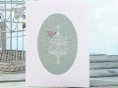 Vintage Bird Cage Cross Stitch