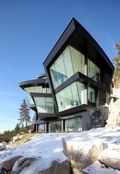 Curved Cliff House: Metal & Glass Bend in Waterfront Breeze, Lake Tahoe retreat, by Mark Dziewulski Architect Architecture Unique, Interior Architecture, Water Architecture, Installation Architecture, Pavilion Architecture, Futuristic Architecture, Sustainable Architecture, Residential Architecture, Glass Elevator