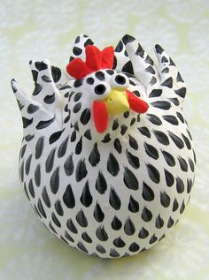 Black and White Hen Ceramic Chicken black and by KarenFincannon