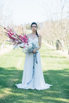 Elegant Orchard Wedding Inspiration at Core Cider House with a pink and blue with gold colour palette for Spring weddings under the stars. Floral Wedding, Wedding Bouquets, Rustic Wedding, Wedding Flowers, Wedding Dresses, Perfect Wedding Dress, Summer Wedding, Bridal Gowns, Wedding Inspiration