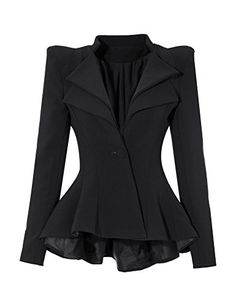 Grapent Womens Black Double Notch Lapel Sharp Shoulder Pads Asymmetry Blazer Jacket US 18 ** Read more at the image link. (This is an affiliate link) #LadiesSuitingandBlazers