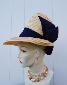RARE Vintage 1950s Avant Garde Atomic Hat MISTER T Ivory White Straw Navy Blue Satin Tall Crown // Spring Summer Hat Church Derby Wedding
