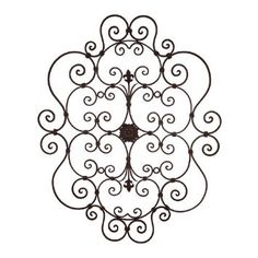 """Amazon.com: 43"""" Tuscan Wrought Iron Wall Grille Fleur De Lis & Scroll Design Wall Decor Grill: Home & Kitchen"""