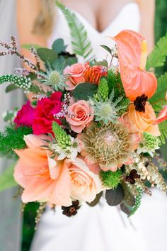 tropical wedding bouquet. #wedding #flowers #brides #floral #women's  #weddingideas #flowerarrangements #bridesmaid