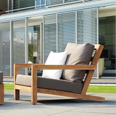Browse our teak deep seating collection online. Find quality outdoor chairs, sofas, couches, lounge chairs & many more outdoor teak seating options here. Outdoor Furniture Plans, Outside Furniture, Balcony Furniture, Diy Garden Furniture, Home Decor Furniture, Pallet Furniture, Furniture Design, Pool Chairs, Outdoor Chairs