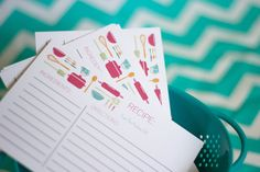 Recipe Cards, Kitchen Theme Bridal Shower, Stock The Kitchen Shower, INSTANT DOWNLOAD, Teal and Pink Recipe Cards, Gift for Bakers, #20 by MKKMDesigns on Etsy https://www.etsy.com/listing/155089361/recipe-cards-kitchen-theme-bridal-shower