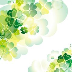Green clovers with transparencies background