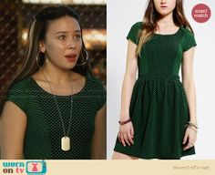 Julia's green polka dot dress on Star-Crossed. Outfit Details: http://wornontv.net/28335 #Star-Crossed #fashion