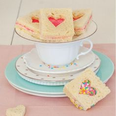 Fairy Bread Sandwiches Recipe - Delish With PB or Nutella instead of butter. This is a springboard for an idea. I will use a sweetened vanillia cream cheese and a layer of Strawberry Jam with paralles Fairy Bread, Valentines Day Food, Tea Party Birthday, Birthday Ideas, Fairy Birthday, Summer Birthday, 4th Birthday, Birthday Celebration, Sandwich Bread Recipes