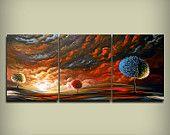 surreal art original painting surreal HUGE 54 x 24 large abstract landscape wall art decor Mattsart