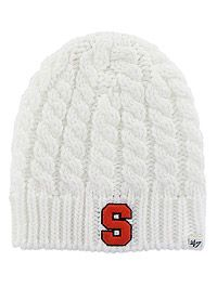 Preppy White Cable Knit Block-S Women's Syracuse University Winter Hat #PreppySyracues