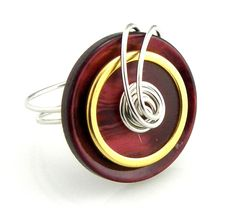 Button Ring Red and Gold by TrinketsNWhatnots on Etsy