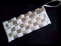 Duct Tape Clutch. Silver & White. Modern. DIY Craft.