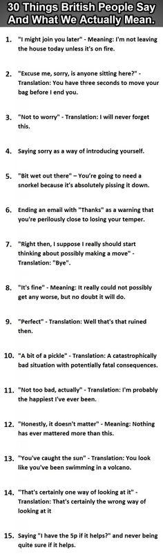 30 Things British People Say Vs What We Actually Mean. :D