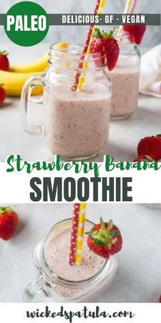 See how to make the BEST healthy strawberry banana smoothie recipe! This strawberry and banana smoothie is so delicious, you won't guess it's paleo, gluten-free, and vegan. Kiwi Smoothie, Strawberry Mango Smoothie, Blueberry Banana Smoothie, Strawberry Recipes, Easy Healthy Smoothie Recipes, Easy Smoothies, Breakfast Smoothies, Paleo Vegan, Snacks