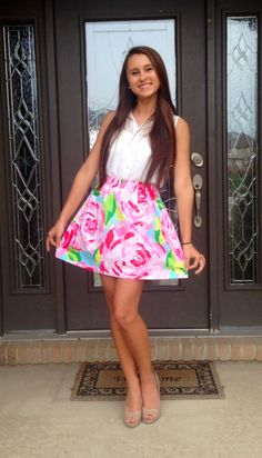 Nice Skirt: OOTD: Dress up day for school liturgy! Top: TJ Maxx Skirt: Lilly Pulitzer Shoes: Charming Charlie's