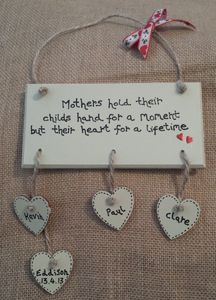 'Mothers hold their childs hand' Family Tree Plaque