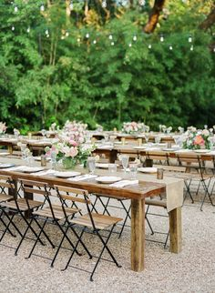 Rustic wood tables + bright pink florals: http://www.stylemepretty.com/2016/06/14/pink-gold-glitter-austin-wedding/   Photography: Sophie Epton Photography - http://www.sophieepton.com/