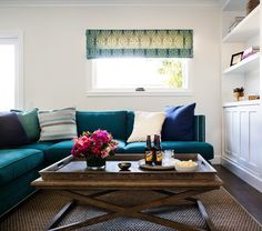 Teal Sectional Sofa, Contemporary, living room, Jute interior Design