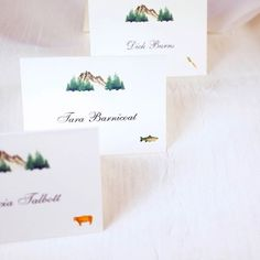 Watercolor Mountains Meal Choice Place Cards honey-paper.com #mountainwedding #table #decorations #details #sunvalleywedding #santaynezwedding