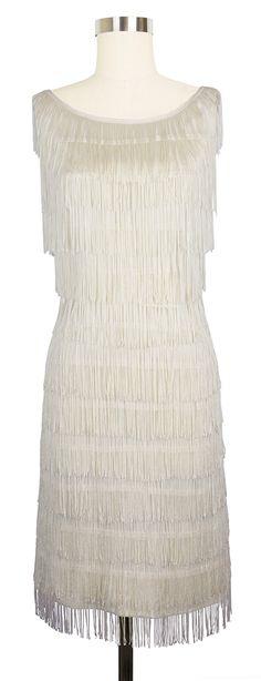 Trashy Diva Shimmy Dress   1920s Inspired Dress   Ivory Fringe