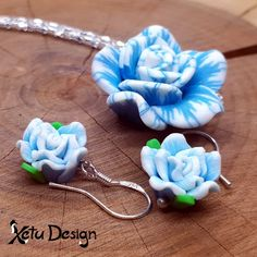 Rose set - handmade polymer clay flowers necklace and earrings by XetuDesign on Etsy Polymer Clay Flowers, Clay Design, Handmade Polymer Clay, White Roses, Handmade Silver, Color Mixing, Iridescent, Miniatures, Beads