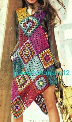 Transcendent Crochet a Solid Granny Square Ideas. Inconceivable Crochet a Solid Granny Square Ideas. Granny Square Sweater, Granny Square Häkelanleitung, Granny Square Crochet Pattern, Crochet Granny, Easy Crochet, Granny Squares, Crochet Beach Dress, Hippie Crochet, Crochet Wool