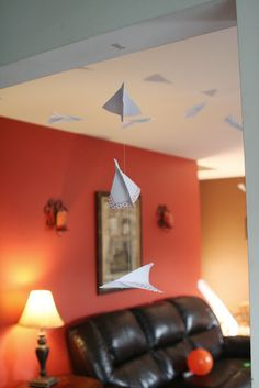 hanging paper airplanes from ceiling One Year Birthday, 3rd Birthday Parties, Birthday Cakes, Paper Airplane Party, Ceiling Paper, Paper Ship, 1st Day Of School, Mario Party, Dorm Life