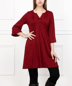 Loving this Red Pin Tuck Button-Front Dress on #zulily! #zulilyfinds