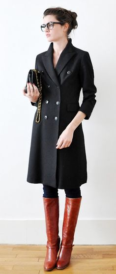 long overcoat + tall boots