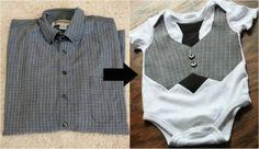 Men's shirt Re-Do into boys pants and cute onsie set! Super cute idea!!