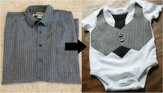 Men's shirt Re-Do into boys pants and cute onsie set! Super cute idea!!