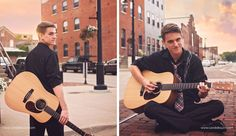 Guy senior portraits taken in Dubuque Iowa by Candid Touch Photography and Design. Senior sessions with a guitar.