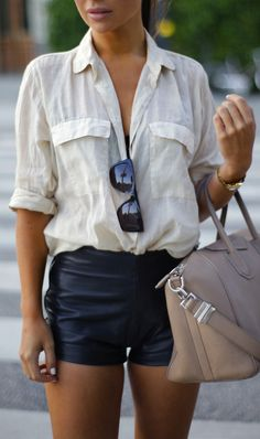 Leather shorts and a white button down http://rstyle.me/n/nk5zw4ni6 #leatherfashion