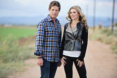 He's wearing a Robert Graham shirt with Hudson Jeans. She's wearing a Bella Dahl jacket with black coated Citizens of Humanity jeans that look like leather. #sjc #scottsdalejeanco