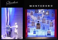 """Due delle vetrine della Rinascente di Milano allestite da Fusina per il progetto """"A Open Window on Talents"""" di Slowear e L'Uomo Vogue"""