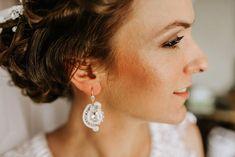 White wedding soutache jewelry. Lace Earrings, Soutache Earrings, Small Earrings, Wedding Earrings, Crystal Earrings, Statement Earrings, Wedding Jewelry, Diamond Earrings, Star Wedding