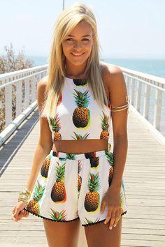 Pineapple Print Crop Top & Shorts Set | #USTrendy  www.ustrendy.com