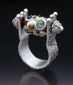 Hattie Sanderson - Metal clay and lampwork glass bead Metal Clay Jewelry, Jewelry Art, Jewelry Design, Unique Jewelry, Fine Jewelry, Artisan Jewelry, Handcrafted Jewelry, Earrings Handmade, Precious Metal Clay