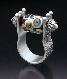 Ring | Hattie Sanderson.  Metal clay and glass bead.