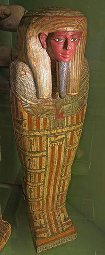 This wooden coffin belonged to the priest of Amun Ankh-f-n-Khonsu. Note that there were many individuals with this name.   650 BC. .Egypt