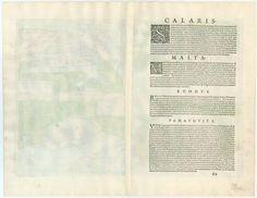 Antique map with views of Cagliari, Malta, Rhodos and Famagusta   Sanderus Antique Maps