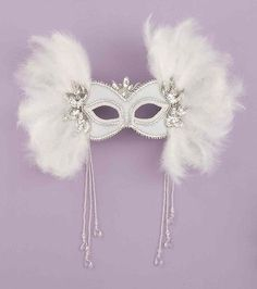 White and Silver Feather Sequin Mardi Gras Mask Venetian Masquerade Party Mask | eBay