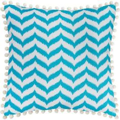 """Better Homes and Gardens Ikat Chevron 18"""" x 18"""" Poly/Cotton Fabric Printed Pillow with Contrasting Pom Poms in Lime Green 12.97"""