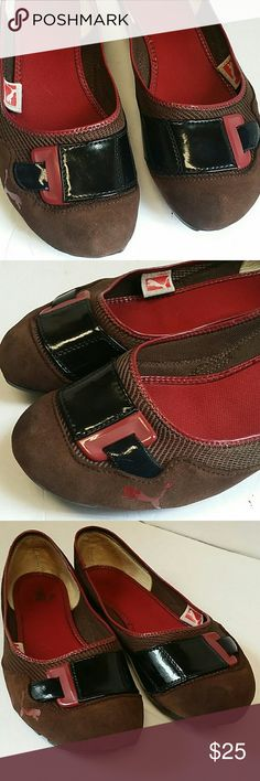PUMA FLAT SHOES Women's Puma flat shoes pre-owned  Tree colors black, brown, red,  Excellent condition Puma Shoes Flats & Loafers